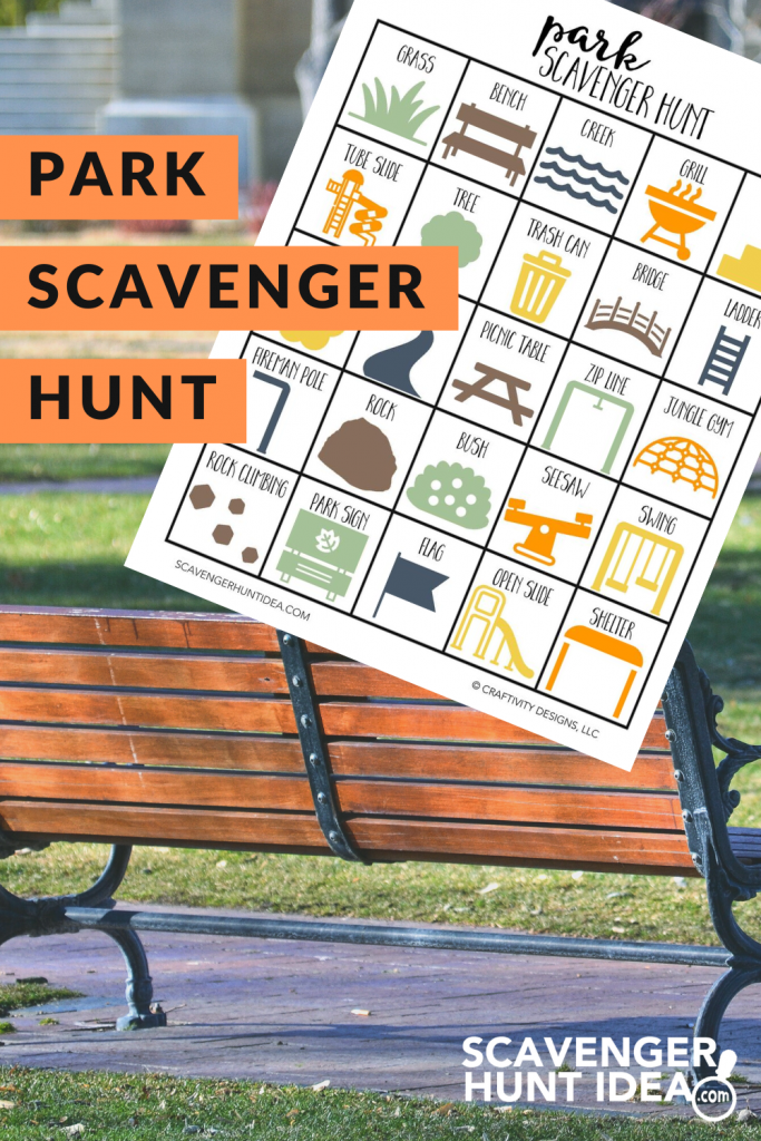 Park Scavenger Hunt with Bench in Background