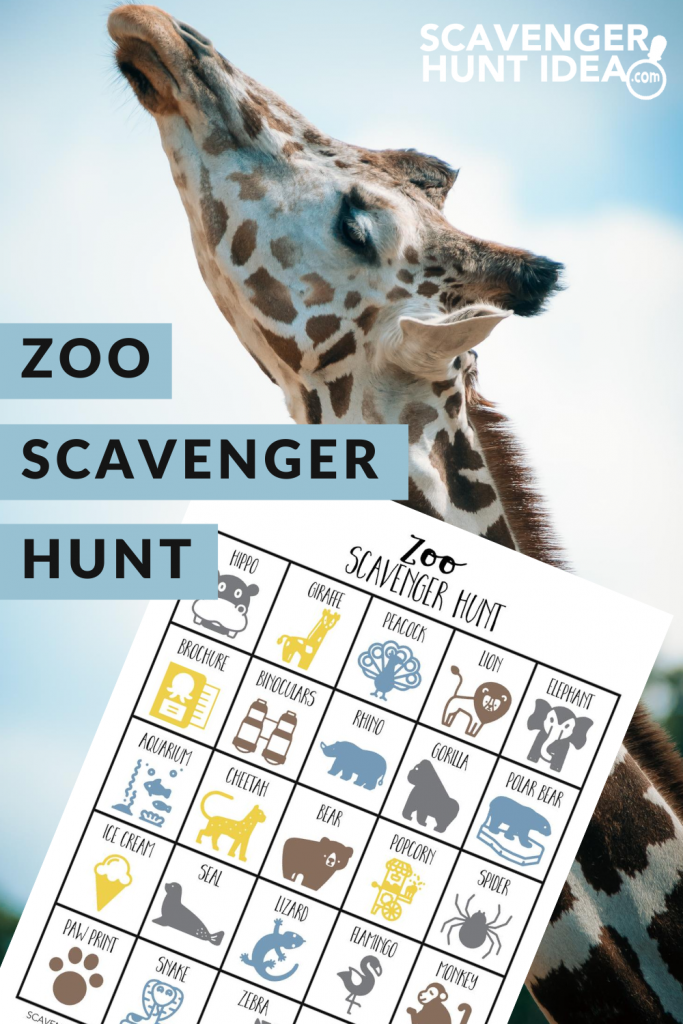 Zoo Scavenger Hunt with Giraffe in Background