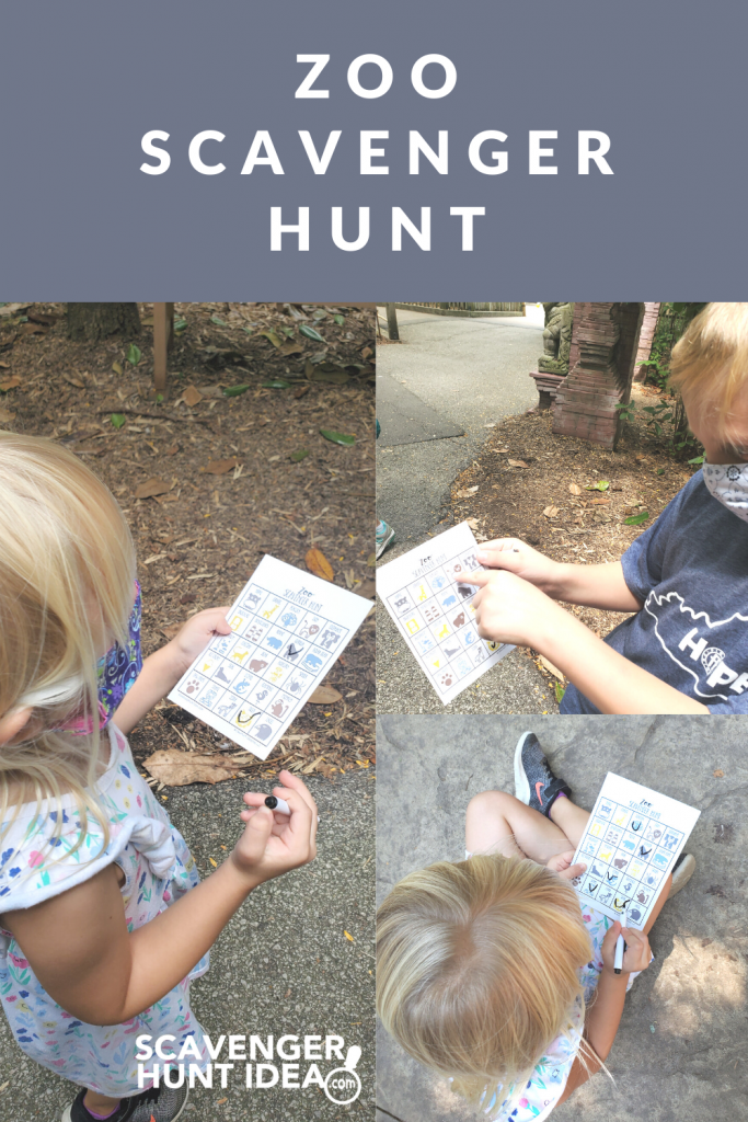Children playing a Zoo Scavenger Hunt game at the Zoo