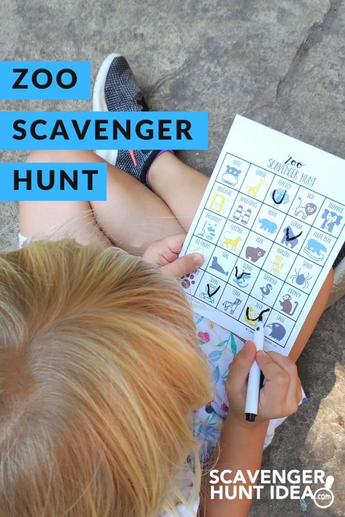 Child playing a Zoo Scavenger Hunt game at the Zoo